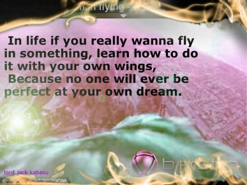 In life if you really wanna fly in something, learn how to do it with your own wings,