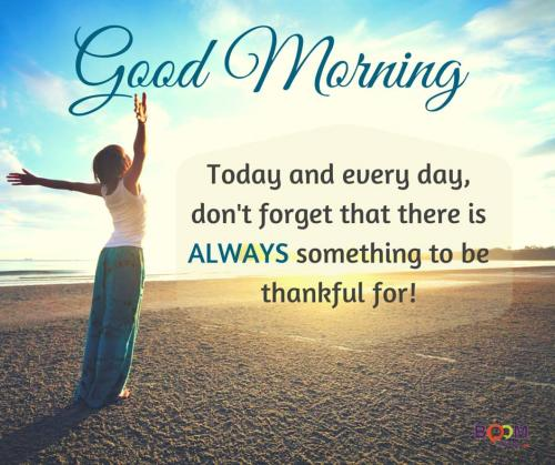 Good Morning. Today and every day, don't forget that there is always something to be thankful for!