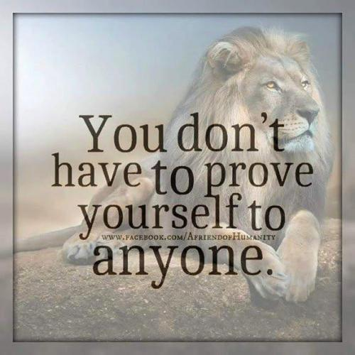 You don't have to prove yourself to anyone in Life