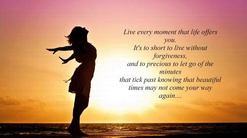 Live every moment that life offers you.It's to short to live without forgiveness, and to precious to let go of the minutes that tick past knowing that beautiful times may not come your way again....