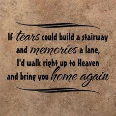 If TEARS could build a stairway and MEMORIES a lane, I would walk right up to HEAVEN and bring you home again.