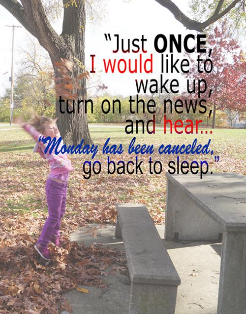 Just once, I would like to wake up, turn on the news, and hear... Monday has been canceled, go back to sleep.