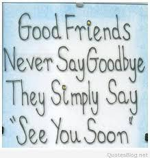 Good frnds Never Say Good bye They Simply Say See You Soon.
