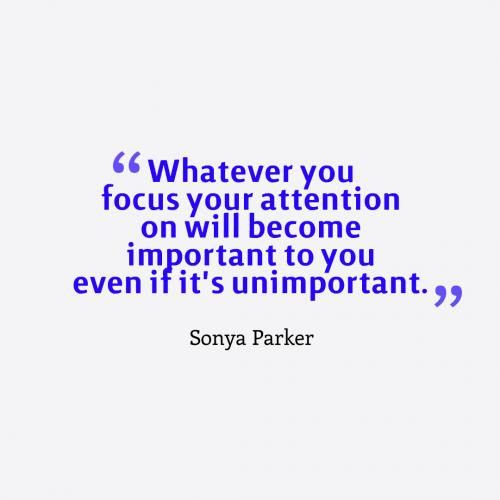 Whatever you focus your attention on will become important to you even if it's unimportant.