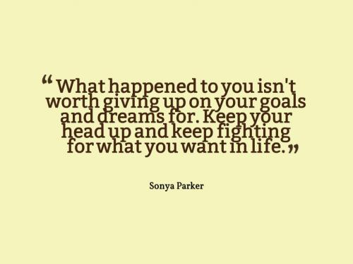 What happened to you isn't worth giving up on your goals and dreams for. Keep your head up and keep fighting for what you want in life.