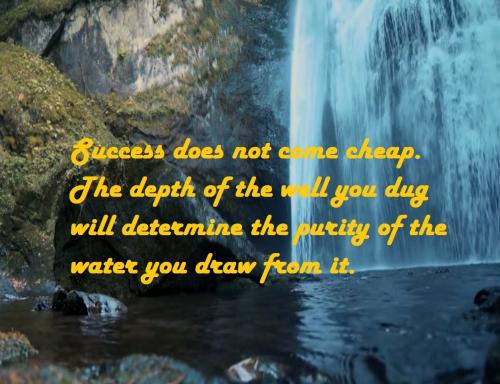 Success does not come cheap. The depth of the well you dug will determine the purity of the water you draw from it.