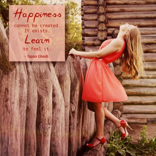 Happiness cannot be created. It exists. Learn to feel it.