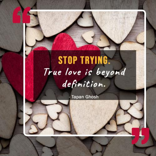 Stop trying. True love is beyond definition.
