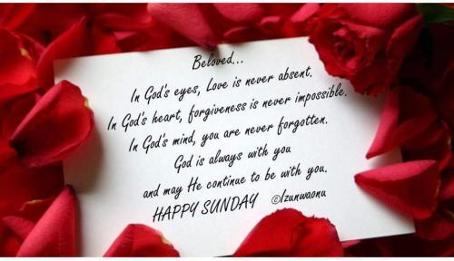 In God's eyes, Love is never absent, In God's Heart, Forgiveness is never impossible, In God's mind, you are never forgotten, God is always with you and may He continue to be with you. Happy Sunday