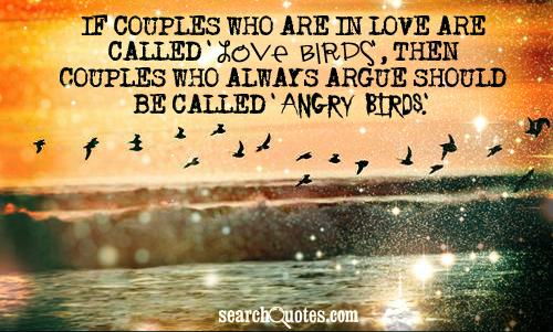 If couples who are in love are called 'love birds', then couples who always argue should be called 'angry birds.'