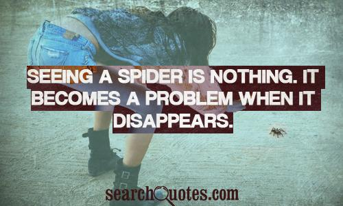 Seeing a spider is nothing. It becomes a problem when it disappears.