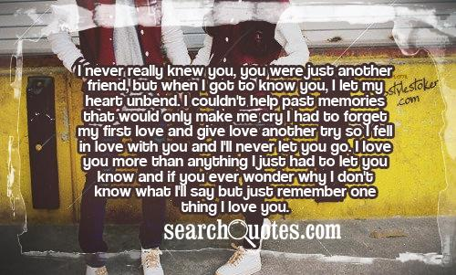 I Love You More Than Funny Quotes For Friends : ... love with you and Ill never let you go. I love you more than anything