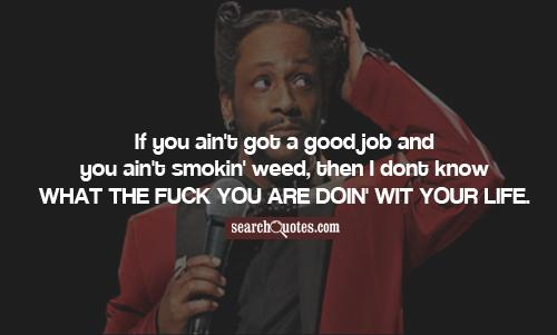 If you ain't got a good job and you ain't smokin' weed, then I dont know what the fuck you are doin' wit your life.