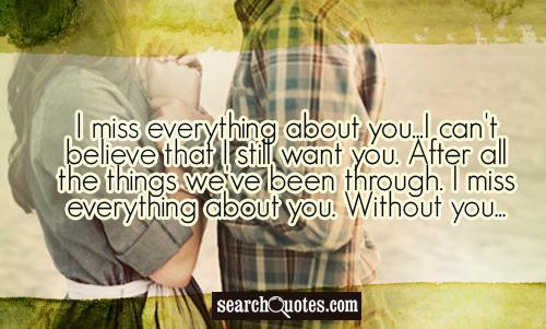 I miss everything about you...I can't believe that I still want you. After all the things we've been through. I miss everything about you. Without you...