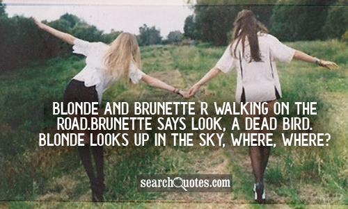 Blonde and Brunette r walking on the road.brunette says Look, a dead bird. Blonde looks up in the sky, WHERE, WHERE?