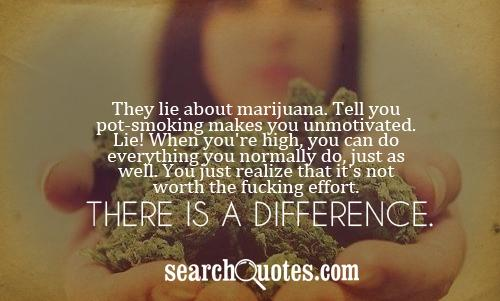 They lie about marijuana. Tell you pot-smoking makes you unmotivated. Lie! When you're high, you can do everything you normally do, just as well. You just realize that it's not worth the fucking effort. There is a difference.