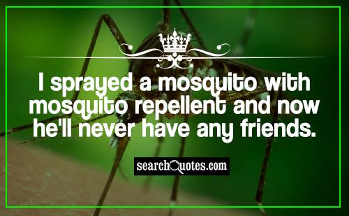 I sprayed a mosquito with mosquito repellent and now he'll never have any friends.