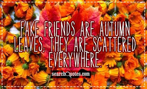 Fake friends are autumn leaves; they are scattered everywhere.