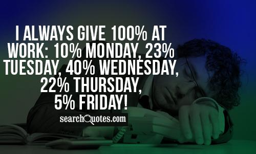 I always give 100% at Work: 10% Monday, 23% Tuesday, 40% Wednesday, 22% Thursday, 5% Friday!