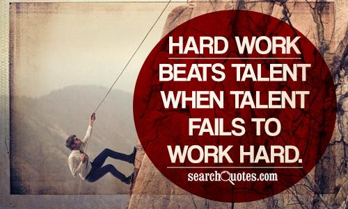 Hard Work Beats Talent When Talent Fails To Work Hard Quotes
