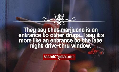 They say that marijuana is an entrance to other drugs...I say it's more like an entrance to the late night drive-thru window.