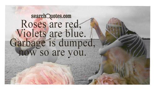 Roses are red, Violets are blue. Garbage is dumped, now so are you.