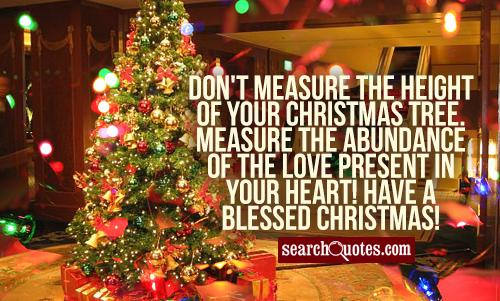 Don't measure the height of your Christmas tree. Measure the abundance of the love present in your heart! Have a Blessed Christmas!