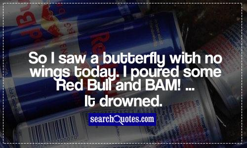 So I saw a butterfly with no wings today. I poured some Red Bull and BAM! ...It drowned.