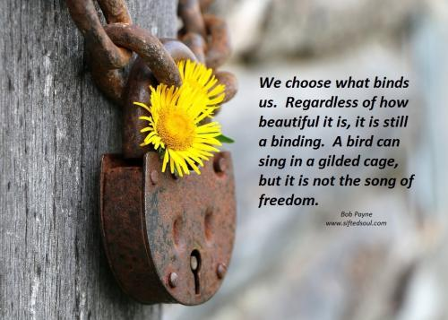 We choose what binds us.  Regardless of how beautiful it is, it is still a binding.  A bird can sing in a gilded cage, but it is not the song of freedom.