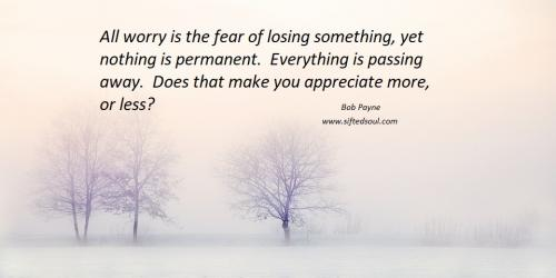 All worry is the fear of losing something, yet nothing is permanent.  Everything is passing away.  Does that make you appreciate more, or less?