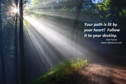 Your path is lit by your heart.  Follow it to your destiny.