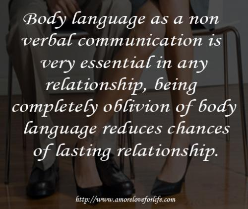 Body language as a non  verbal communication is  very essential in any  relationship, being   completely oblivion of body  language reduces chances  of lasting relationship.