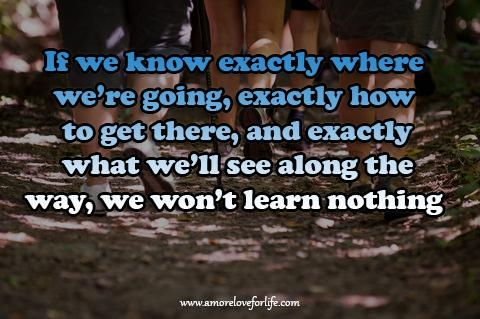 If we know exactly where  were going, exactly how  to get there, and exactly  what well see along the  way, we wont learn nothing.