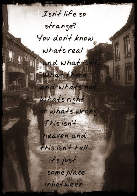 Isn't life so strange? You don't know whats real and what isn't. What there and whats not. Whats right or whats wrong. This isn't heaven and this isn't hell.. it's just someplace in-between