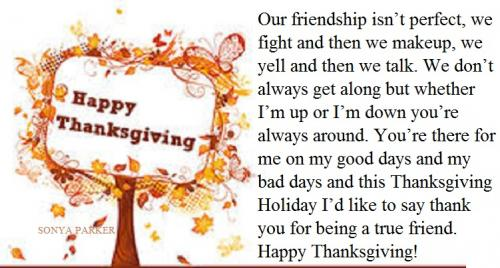 Our friendship isn't perfect, we fight and then we makeup, we yell and then we talk. We don't always get along but whether I'm up or I'm down you're always around. You're there for me on my good days and my bad days and this Thanksgiving Holiday I'd like to say thank you for being a true friend. Happy Thanksgiving!