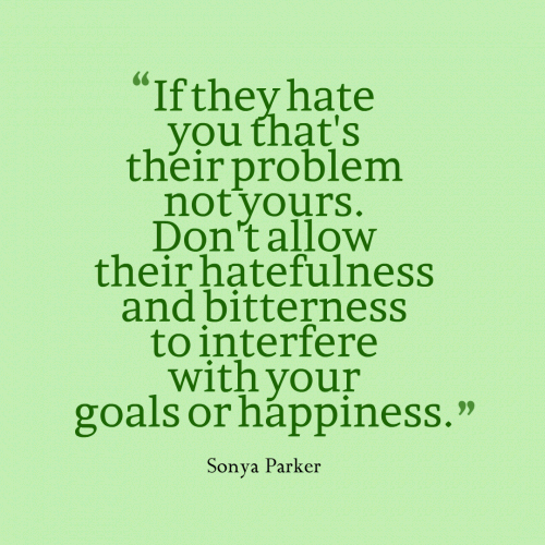 If they hate you that's their problem not yours. Don't allow their hatefulness and bitterness to interfere with your goals or happiness.