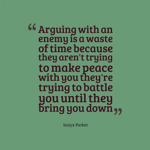 Arguing with an enemy is a waste of time because they aren't trying to make peace with you they're trying to battle you until they bring you down.