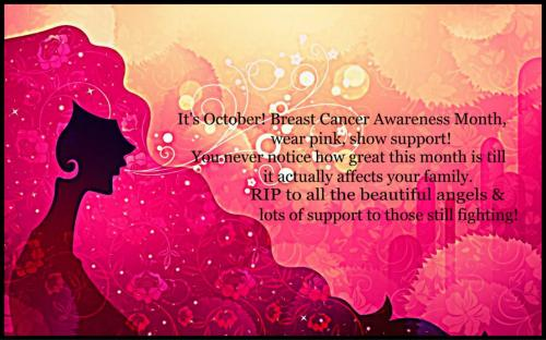 It's October! Breast Cancer Awareness month, wear pink, show support! You never notice how great this month is till it actually affects your family. RIP to all the beautiful angels & lots of support to those still fighting.