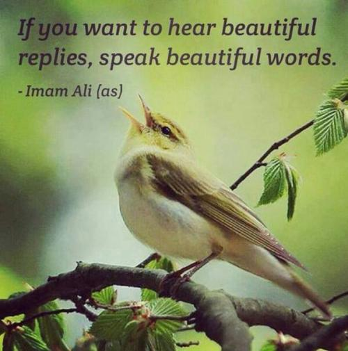 If you want to hear beautiful replies, speak beautiful words.