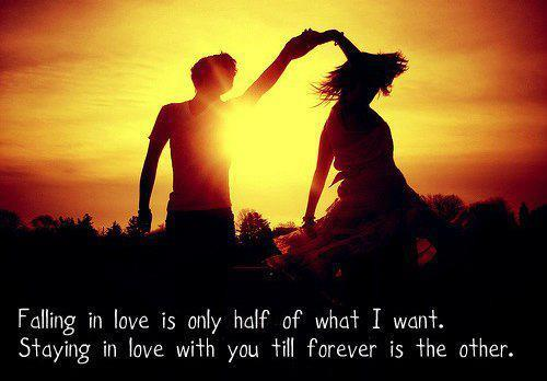 Falling in love is only half of what I want. Staying in love with you till forever is the other.