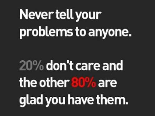 Never tell your problem to anyone. 20% don't care and the other 80% are glad you have them.