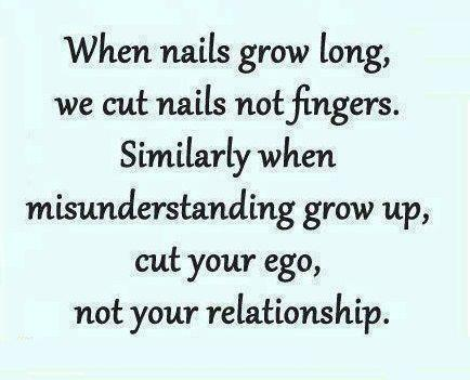When nails grow long, we cut nails, not fingers. Similarly, when misunderstanding grow up, cut your ego not your relationship.