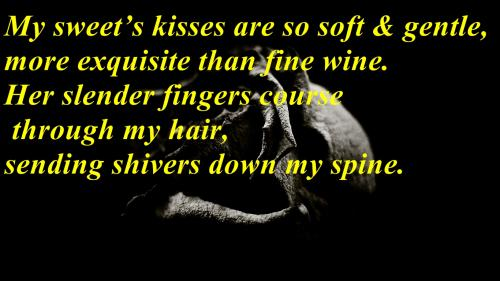My sweet's kisses are so soft & gentle more exquisite than fine wine. 