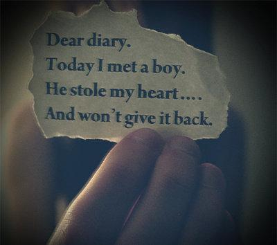 Dear diary. Today I met a boy. He stole my heart and wont give it back...