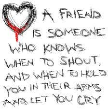 A friend is someone who knows when to shout, and when to hold you in their arms and let you cry.