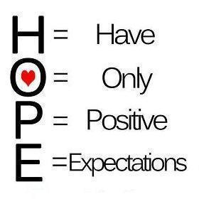HOPE - Have Only Positive Expectations.