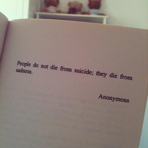People do not die from Suicide. They die due to sadness.