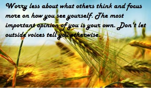 Worry less about what others think and focus more on how you see yourself. The most important opinion of you is your own. Don't let outside voices tell you otherwise.