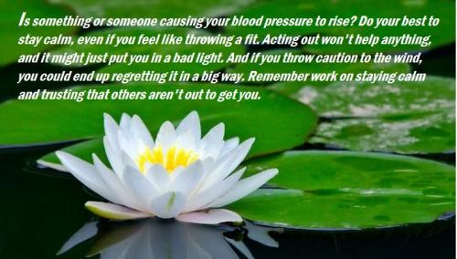 Is something or someone causing your blood pressure to rise? Do your best to stay calm, even if you feel like throwing a fit. Acting out won't help anything, and it might just put you in a bad light. And if you throw caution to the wind, you could end up regretting it in a big way. Remember work on staying calm and trusting that others aren't out to get you.