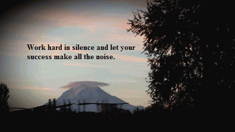 Work hard in silence and let your success make all the noise.